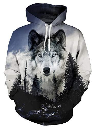 ALISISTER Kapuzenpullover Herren Damen 3D Realistisch Wolf Design Pullover Hoodies Unisex Beiläufig Sport Party Fleece-Innenseite Warm Kostüme Hooded Sweatshirt XXL (Eine Realistische Wolf Kostüm)