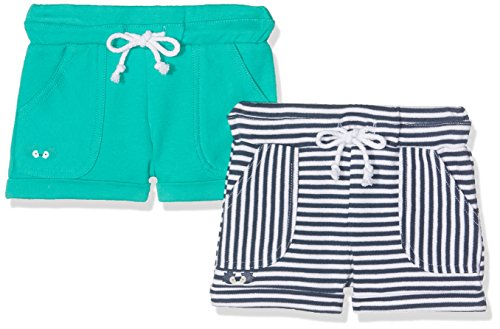 Twins Unisex Baby Short 2er-Pack, Mehrfarbig (grün/Navy-Blau/weiß 3200), 68