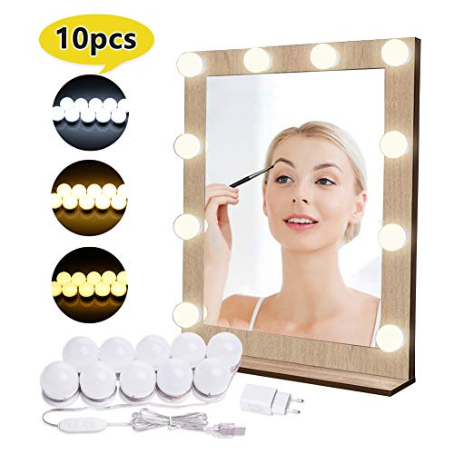 Luces de Espejo de Tocador EVILTO Espejo de Maquillaje LED Kit con 10 Piezas Bombillas Brillo y USB Puerto con Estilo Hollywood, Brillo de 10 Niveles y 3 Colores: Blanco, Color Cálido, Blanco Cálido