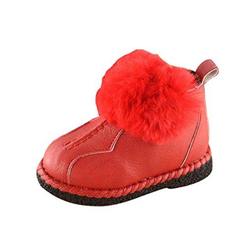 Martin Schnee Stiefel Hairball Dicker Kaschmir Wärme Stiefel Kleinkind Leder Schuhe SOMESUN Baby Shoes 2017 (1 Jahre, Rot)