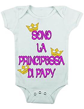 body da neonato - sono la principessa di papy - body bimbo bimba , bimbi, da 3 a 24 mesi by tshirteria