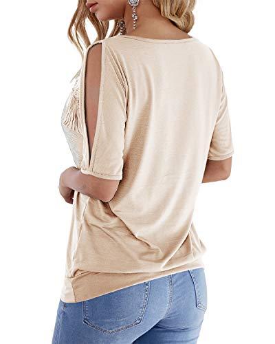 YOINS Camicetta da Donna a Manica Corta con Spalle Scoperte Top Camicia Estiva con Motivo Floreale