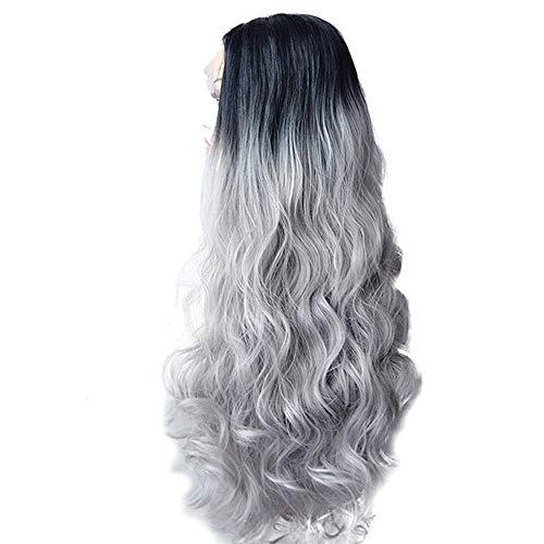 LMRYJQ Damen Mode Wigs Sexy Frauen Langes Haar Schwarz Steigungs-große Welle lange lockige Perücken Rose ()