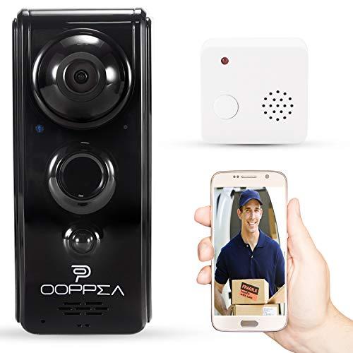 Video Türklingel, OOPPEN 720P HD WIFI Überwachungskamera mit Glockenspiel,Gespräche Video Echtzeit,Nachtsicht PIR-Bewegungserkennung, IOS,Android Smart APP Fernbedienung über 2.4G WLAN (schwarz)