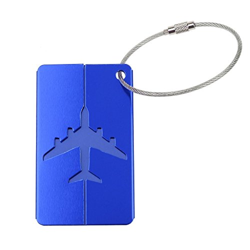 Étiquette de Bagage Nom Adresse Alliage d'Aluminium pour Voyage - Bleu
