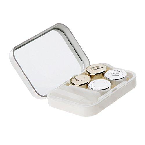 Homyl Kit de Boîtier Mignon Lentilles de Contact Voyage Porte-conteneur Avec Pincettes Miroir - Blanc