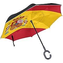 OKONE Paraguas Reversible de Apertura automática con Paraguas Compacto y Recto con Bandera de España para