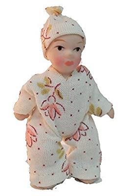 Melody Jane Dolls House Baby Toddler in Spotted Suit Miniature Porcelain People