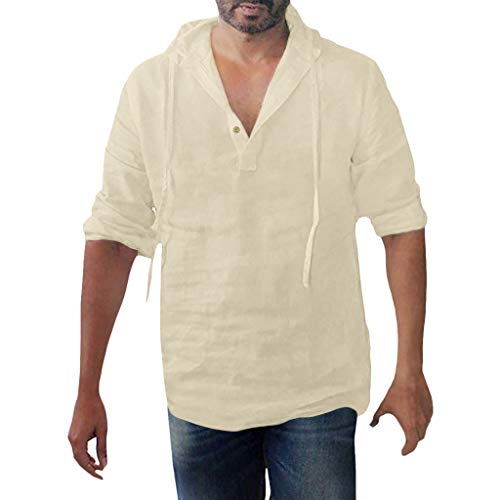 Makefortune Herren Leinen Henley Shirts Pullover Hoodie Casual Leichte Langarm T Shirts Casual Tops -