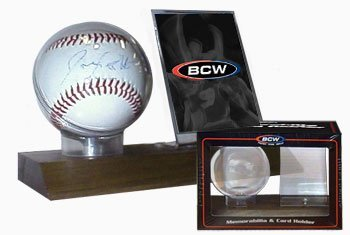 BCW Supplies Woodbase Baseball and Card Holder (Real Walnut) by BCW