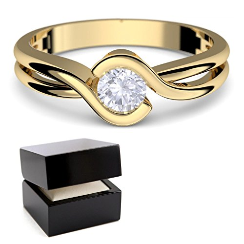 Proposal Ring Gold 333 + Box! Zirconia like Diamond by AMOONIC made with Swarovski Zirconia Present Idea Engagement Novelty Modern Rings best to have Marriage Gift Women Jewellery FF388GG333ZIFA58.UK