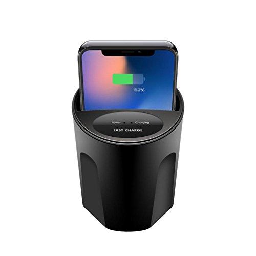HKFV QI Wireless Charger 10W X 8 Car Wireless Ladegerät Cup mit USB-Ausgang für iPhone X Kabellose Ladegerät Tasse Auto-Ladegerät mit Stromleitung (Schwarz) -