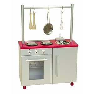 roba 97250 - Küchenzeile, Medium Density Fibreboard silber/rot lackiert, mit Backofen, Herd, Spüle, Relingstange, 4-teiliges Kochzubehör 53 x 67 x 32 cm