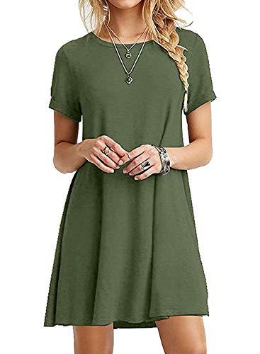 Baumwolle Mini-kleid (Alieyaes Damen lose Tunika T-Shirt Kleid Sommer Kurze Ärmel Rundhals Casual Mini Kleid, Armeegrün, XL)