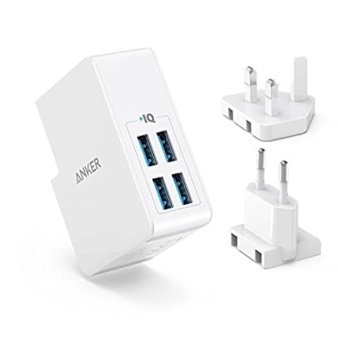 USB Charger Anker 27W 4-Port USB Wall Charger PowerPort 4 Lite with Interchangeable UK and EU Plugs for iPhone 8 / iPhone 8 Plus / iPhone 7 / 6 / 6 Plus / 7 Plus, Galaxy S8, iPad Air 2 / mini 3, Galaxy Note 3 and
