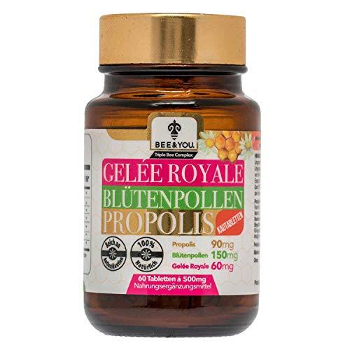 e Blütenpollen Propolis (Kautabletten, 60 Tabletten á 500 mg, Keine Zusatzstoffe, Fairer Handel, Natürliche & kontrollierte Zutaten) ()