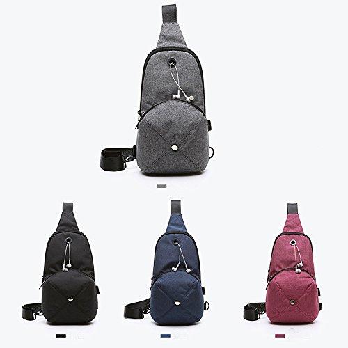 DOXUNGO Unisex Sling-Rucksack Hutförmig Schultertasche mit Kopfhörer-Loch für Freizeit Reisen Wandern Fahrradfahren (ohne Kopfhörer) Schwarz