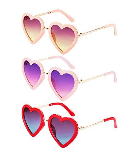 Blulu 3 Paare Kinder Polarisiert Herz Geformt Retro Sonnenbrille für Kleinkind Mädchen Zwischen 3-10 Jahren mit Brillentasche und Brillentuch (Farbe 2)
