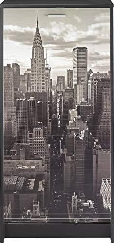 SIMMOB Meuble à Chaussures Noir Rideau Imprimé - Coloris - New York 500 Bois