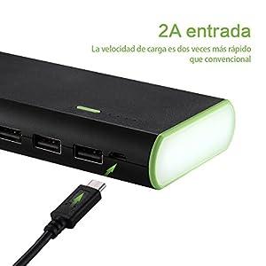 Poweradd Cargador Móvil Portátil Batería Externa 10000mAh (3 USB,5V 2A, Más 2.5A, con la Linterna) Carga rápida para iPhone 7, iPad, Samsung, Móviles Inteligentes y Tabletas (Negro)