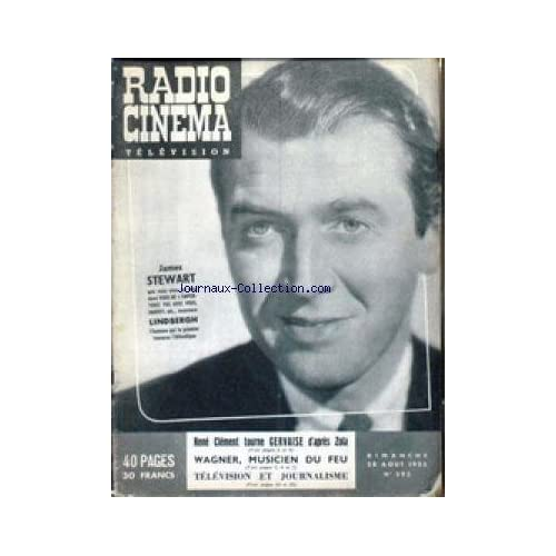RADIO CINEMA TELEVISION [No 293] du 28/08/1955 - JAMES STEWART DANS VOUS NE L'EMPORTEREZ PAS AVEC VOUS - HARVEY - LINDBERGH - RENE CLEMENT TOURNE GERVAISE - WAGNER.
