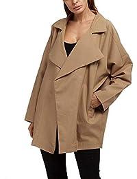 Damen Mantel Frühling Herbst Oversize Übergangsmantel Leicht Elegant Party  Stil Relaxed Freizeit Täglich Mode Revers Longsleeve Jacket… 278bf6c1a2