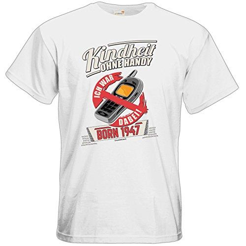 getshirts - RAHMENLOS® Geschenke - T-Shirt - Kindheit ohne Handy - BORN 1947 - Geburtstag White