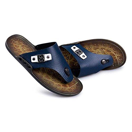SHANGXIAN Herren Classic Mode Casual Flip-Flops Slipper in Echtleder für den Sommer Blue