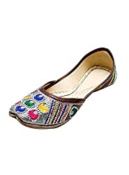 Port Ladies Silver Base Multicolor Handmade Punjabi Jutti(Size 10 UK/IND)