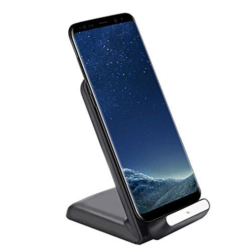 Preisvergleich Produktbild Prevently Wireless Charger Fast Wireless Charger kabelloses Holzmaserung Schnellladung Qi Fast Wireless Charger Schnellladegerät für Samsung Galaxy S9/S9 Plus (Schwarz)