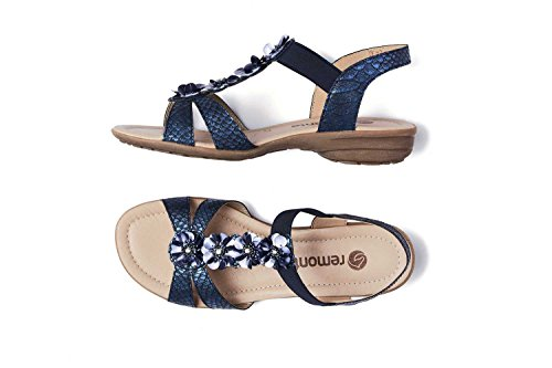 Remonte Sandalen in Übergrößen Blau R3633-14 Große Damenschuhe royal / 14