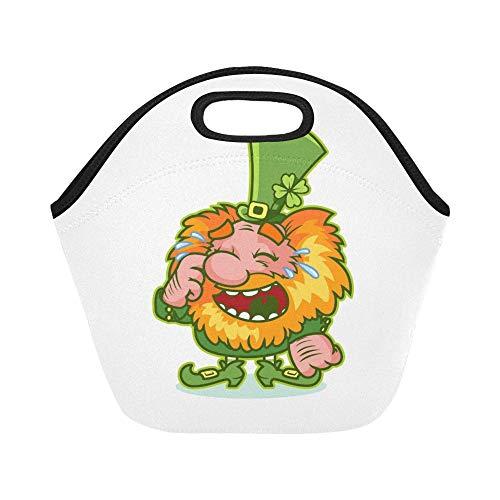 Isolierte Neopren-Lunch-Tasche Lachender rothaariger Gnom Grünes Kostüm Lustige große wiederverwendbare thermische starke Mittagessen-Einkaufstaschen für Brotdosen für draußen, Arbeit, Büro, - Baby Jungen Gnom Kostüm