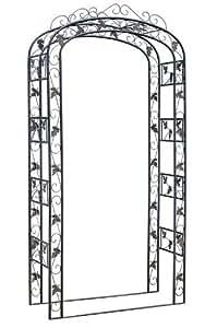 clp rosenbogen metall 120 cm breit verziert eisen pulver beschichtet handgefertigt h he 240. Black Bedroom Furniture Sets. Home Design Ideas