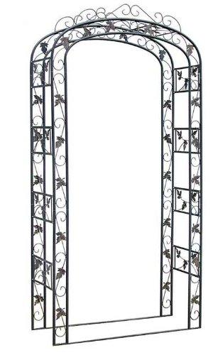 CLP Arche de Jardin avec ornement en métal, hauteur 240 cm, largeur 120 cm, profondeur 45 cm, arche rosiers fabriquée à la main noir