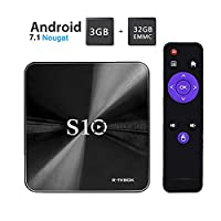 R-TV BOX S10 4K Android 7.1 OS Smart TV Box 3GB+32GB Amlogic 912 64bit Octa-core Bluetooth 4.1 Dual Band WIFI 2.4G/5.0G 1000M LAN HD TV Set Top Box with Remote Control