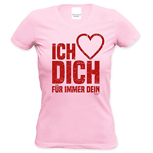 Damen kurzarm Fun T-Shirt Girlie-Shirt Geschenk-Idee-Valentinstag Motiv: Ich liebe Dich für Mama für Sie Farbe: rosa Rosa