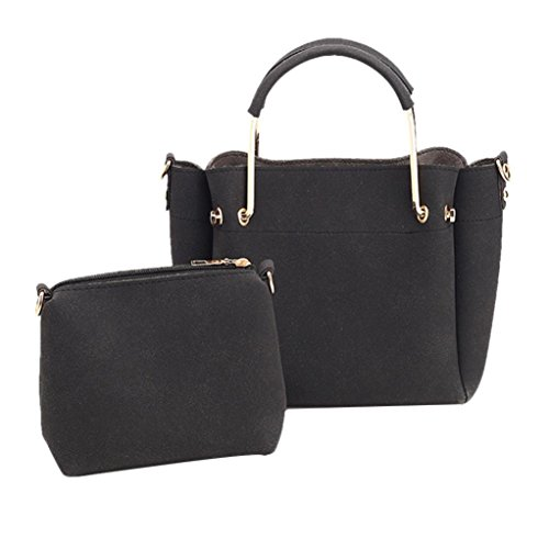 Pu Borsa Da Spalla In Pelle, Donne 2 Set Borsa Borse A Due Pezzi Tote Bag Crossbody by Kangrunmy Nero