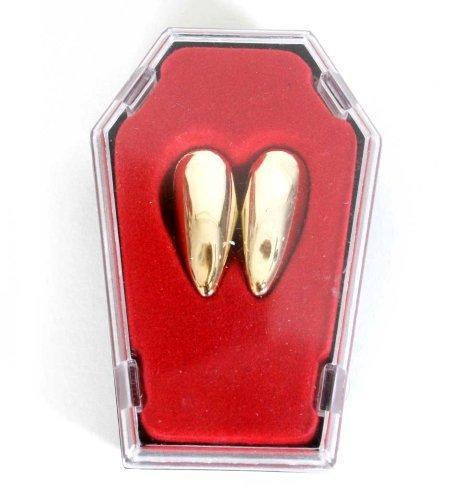 Vampirzähne Vampir Eck Zähne gold im Sarg Halloween Thermoplast - individuelle (Zähne Gold Vampir)