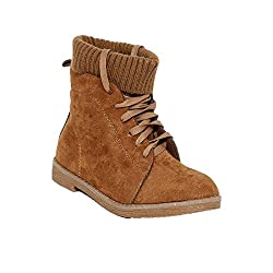 Flat n heels Womens Tan Lace-Up Boots