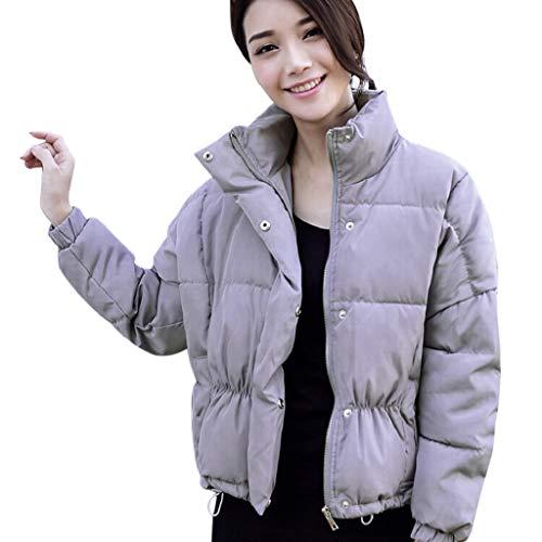 Manadlian Damen Winterjacke Frau Beiläufig Einfarbig Stehkragen Schlank Winter Mantel Outwear Jacke Mantel