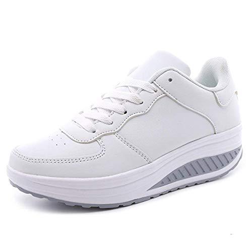 Lanchengjieneng Damen Wanderschuhe Platform Frau Fitnessschuhe Orthopädie Wedge Laufschuhe Sneakers Weiß EU 39 Weiße Wedge Sneakers