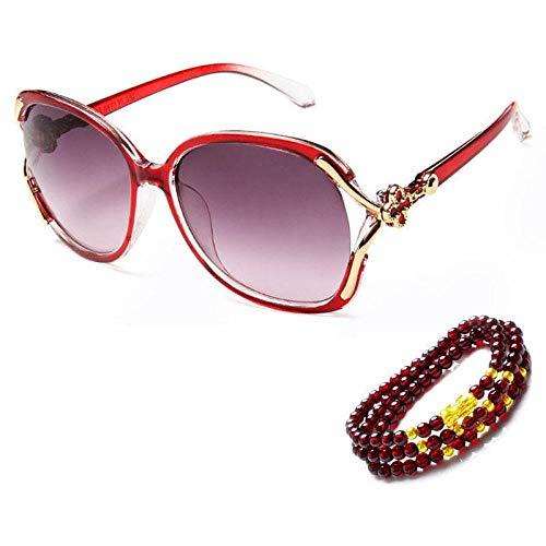 Traum-blatt (Sonnenbrille neue Damen Sonnenbrillen fahren Sonnencreme kein Grad rundes Gesicht langes Gesicht Sonnenbrille ap Modelle träumen lila Drei-Ring-Armband Brillenetui, Vier-Blatt-Temperament rot _ Drei-)