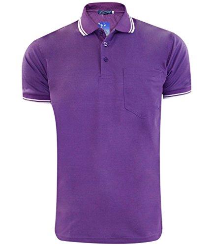 Neue Herren Poly Cotton Pique Pocket Polo Sommer gerippt Kipp Halsband PK T - Shirt Purple