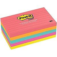 Post-it 655 - Pack de 5 blocs notas Neón con líneas, 100 hojas/bloc, colores surtidos: fucsia, verde, naranja, amarillo y rosa