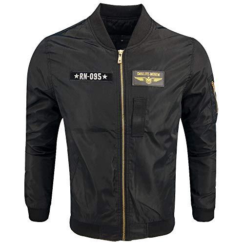 Xmiral Herren Jacke Mantel Herbst Winter Biker Motorrad Zipper Outwear Einfach Stickerei Top (M,Schwarz4)