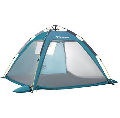 KingCamp Pop-Up Zelt Campingzelt 2 Jahreszeiten Kuppelzelt 4 Personen Anti-Moskito Zelt für Picknick Garten Camping Outdoor Angeln Parteien, 210 x 210 x 130 cm, Blaugrün