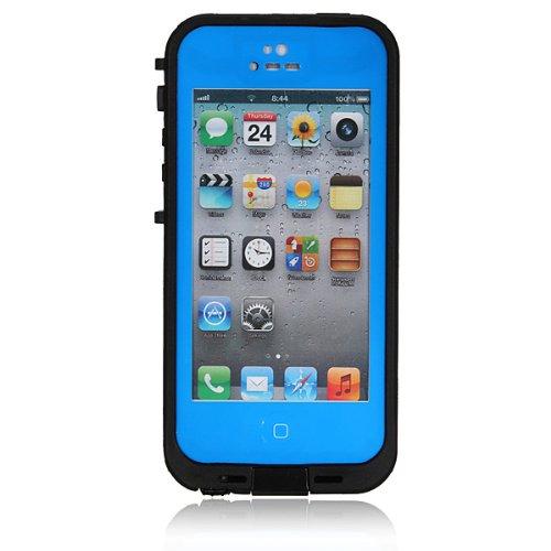 Custodia Rigida Impermeabile Antiurto PC Waterproof Shockproof Dirt Snow Proof Hard Cover Case Per iPhone 5 5S Blu blu