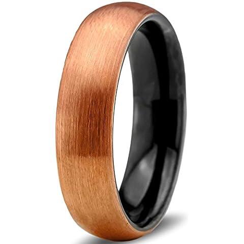 Tungsten Wedding Band Ring 6mm for Men Women Black & 18K Rose Gold Domed Brushed Polished Lifetime