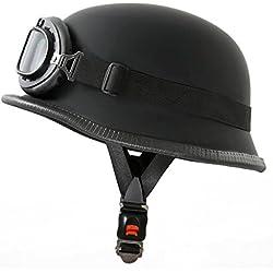 ATO WH1-Casco para moto estilo militar con gafas de aviador XL (60-61cm) negro mate