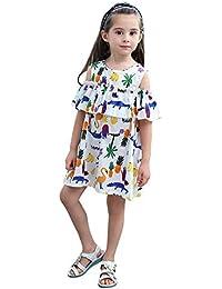 Feixiang Vestido de Verano para niña Vestido Estampado de Dibujos Animados Vestido de Princesa Vestido de